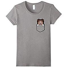 Sheltie T Shirt Womens Adorable Little Sheltie In The Pocket T-shirt Medium Slate