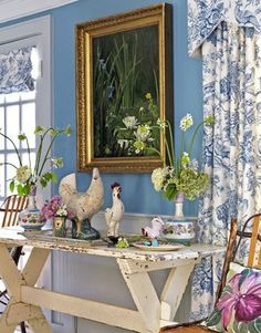 French country - maybe a different shade of blue from the kitchen which will be pale blue. Yellow or blue walls for B&B dining room. Nice color to wake up to in the morning