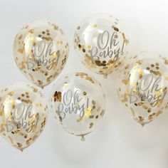 Gold Oh Baby Confetti Balloons, Baby Shower Balloons, Gold Baby Shower Balloons, Gold Baby Shower Decorations, Gold Oh Baby Decor Décoration Baby Shower, Gold Baby Showers, Gender Neutral Baby Shower, Girl Shower, Baby Shower Parties, Shower Party, Classy Baby Shower, Unisex Baby Shower, Shower Favors