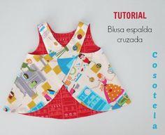 Paso a paso para coser la Blusa con espalda cruzada Pinafore. Tallas 9/12 meses a 8 años. Anímate a coser cómmodamente desde casa.