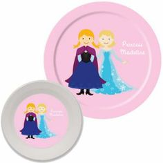 Personalized Snow Princess and Snow Queen Plate and Bowl Set