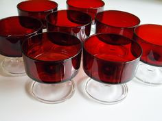 Image detail for -Ruby Red Compotes or Dessert Dishes Luminarc by Vintagerous
