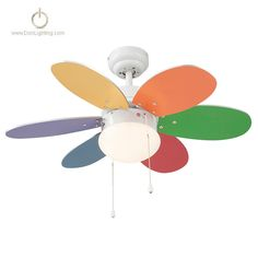 Rainbow Colour Ceiling Fan -- If you're thinking about redecorating a child's room with this beautiful Rainbow Colour ceiling fan with multicolour light / multicolour glitter you will leave whim. Rainbow Colour Ceiling fan with white body and 6 reversible blades multicolour-bright/multicolour-pastel.
