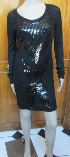 BDB  Rayona Long Sleeve Black Sequin Knit Sweater Dress Sz Small NWT #Buffalo #SweaterDress #Cocktail