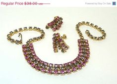 Pink and Black Diamond Glass Rhinestone Necklace by thejewelseeker, $30.40