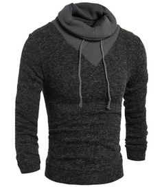 Personality Drawstring Turtleneck Color Block Spliced Long Sleeves Men's Slimming Thicken Sweater Men's Sweaters | RoseGal.com Mobile
