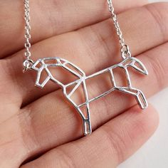Silver Horse Necklace - Horse Origami Inspired Pendant Necklace for Ho