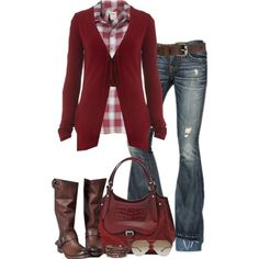 Cranberry and Plaid...I have similar jeans, boots, and sweater..but no plaid shirt..and none of mine are cranberry...beautiful color.