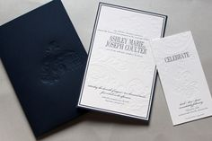 Classic Navy Debossed Wedding Invitations by Gretchen Berry Design Co. via Oh So Beautiful Paper (3)