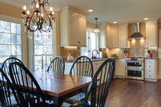 chandelier, new kitchen, white cabinets