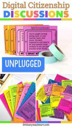 42 task card style discussion prompts to use with upper elementary or middle school students. Ideas for use: Use these discussion prompts to start class, end class, as writing assignments, or as content for your Digital Citizenship unit. There are enough for one per week with a few leftovers.  I print mine on colored paper and store them in a pencil box.