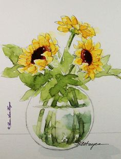 Sunflowers in Glass Original Watercolor Painting Flowers