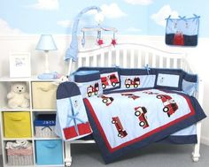 SoHo Fire Trucks Baby Crib Nursery Bedding Set 13 pcs included Diaper Bag with Changing Pad & Bottle Case