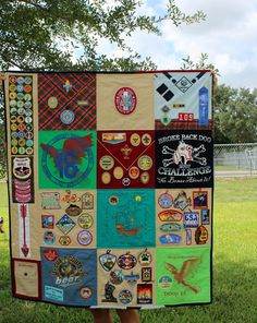 Boy Scout memory Quilt, given at Eagle Scout ceremony, great way to display… Boy Scout Shirt, Boy Scout Uniform, Cub Scouts Bear, Girl Scouts, Cub Scout Badges, Cub Scout Patches, Eagle Scout Project Ideas, Eagle Scout Ceremony, Scout Mom