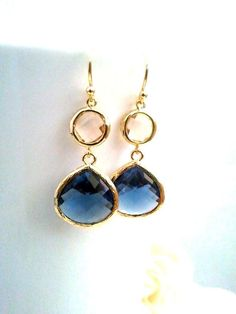 Navy Earrings, Peach Earrings, Champagne, Sapphire Earrings, Wedding Jewelry Bridal Dangle drop Bridesmaid Gift, Personalized Jewelry