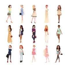 """All Disney Princesses + Bonus (Giselle from Enchanted) in trendy Upper East Side outfits. This was inspired by punziella """"Casual Princesses"""" which is super cool and cute."""