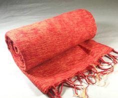 Nepalese Hand-Loomed Yak Wool Blanket,Throw,Shawl- Hot Red & Yellow