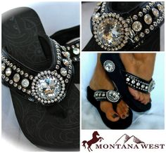 Montana West New Style Western Bling Flip Flop Wedge Jeweled Black All Sizes | eBay