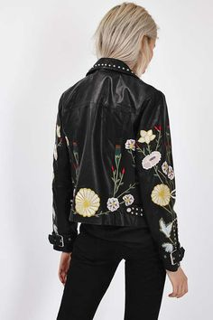 Embroidered Leather Jacket - Topshop USA