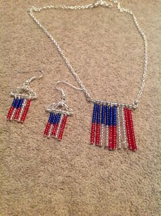 USA patriot jewelry flag necklace earrings for by AmberMoonGallery, $24.99
