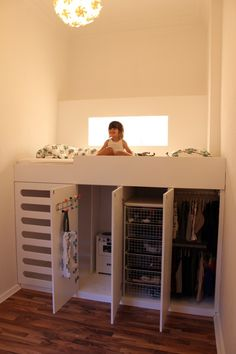 What a FABULOUS idea for a small bedroom! No instructions, unfortunately. My Aunt started with 1 drawer and little boxes under bed, every two years she added another drawer and another row of shelves. when it got the right height she wanted she took one section of shelves and made that the ladder and then used shutters as doors for the rest. Bubs room ?