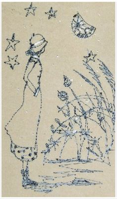 Perfect for Mom! EllesHeart Loves ~ Stitcheries k ~ Betty by Michelle Holmes - Betty stops to gaze at the Bright Moon Embroidery Applique, Cross Stitch Embroidery, Embroidery Patterns, Thread Art, Thread Painting, Free Motion Embroidery, Free Machine Embroidery, Fabric Pictures, Textiles