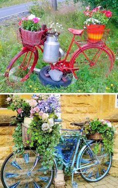 30 Fascinating Low-Budget DIY Garden Pots.  Spray paint an old bike all one color, and put some flowers in the baskets!
