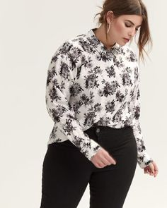 15e231028dfd1f Printed Shirt with Concealed Buttoned Down Closure - Michel Studio Plus  Size Womens Clothing