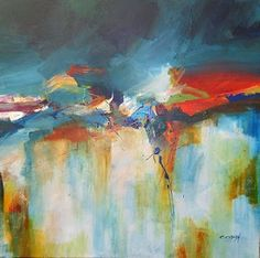 "Mixed Media Artists International: Contemporary Abstract Art Painting ""JOY"" by Contemporary Artist CC Opiela"