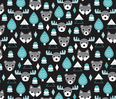 Geometric fox grizzly bear moose and wolf pine tree illustration winter woodland pattern black white and blue fabric by littlesmilemakers on Spoonflower - custom fabric
