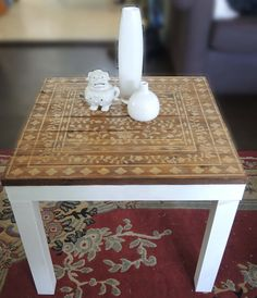 lack side table hack stained wood stencils