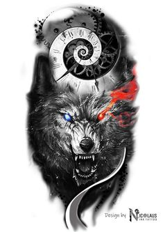 Wolf and mountains double exposure tattoo art. Wolf howls tattoo, mountain compass and night sky t-shirt design Wolf Tattoo Design, Tribal Wolf Tattoo, Wolf Tattoo Sleeve, Tattoo Sleeve Designs, Tattoo Designs Men, Sleeve Tattoos, Tattoo Wolf, Chest Tattoo, Wolf Tattoos Men