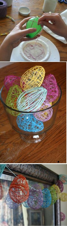 STRING EASTER EGGS: Make a stiffener mixture with 1 cup of liquid starch mixed with a half cup of flour, and blended it in a blender.   One skein of embroidery floss is just enough for one water balloon sized egg.  To avoid knots, coil your string into the mixture and gently press it into the goo.  For a little egg, blow up a water balloon and wrap the gooey string around the balloon. Wipe off the excess goo, it doesn't need to be drippy. Once dry, pop the balloon. Scrape off extra crusty…