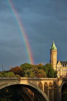 Rainbow over the Luxembourg city by Sigitas Baltramaitis