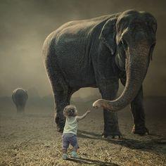 大きな象と小さな子供