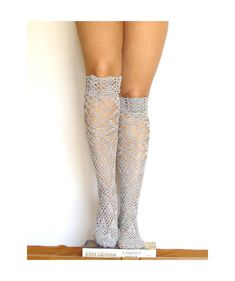 Lace high knee socks