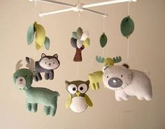 Baby crib mobile, forest mobile ...
