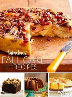 Fall has arrived and it is time to get baking! Check out our fabulous fall cake recipes: http://www.bhg.com/recipes/desserts/cakes/fall-cake-recipes/?socsrc=bhgpin101613fallcakerecipes