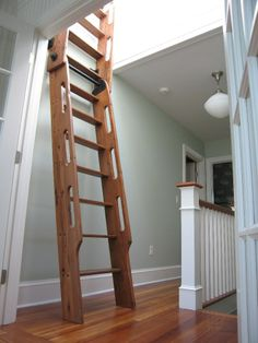 Antique Loft Ladder-Hand Crafted Hybrid Loft ~ Ship Ladder-Made from Antique Reclaimed and Old Growth Recycled Eco-friendly Wood - Historic Flooring, LLC Could it be made cheaper? Library Ladder, Attic Ladder, Loft Ladders, Ship Ladder, Layout Design, Loft Stairs, Attic Stairs Pull Down, Attic Conversion, Loft Room
