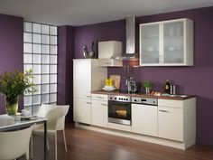 Purple Kitchen White Cabinets Simple Kitchen Cabinets - Home Design Information Purple Kitchen Walls, Purple Kitchen Designs, Very Small Kitchen Design, Best Kitchen Designs, Purple Walls, Kitchen Paint, Color Walls, Neutral Kitchen, Wall Colours