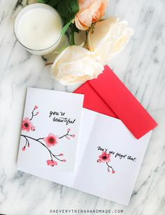 "You're beautiful. - Don't you forget that! Our 4.75x6.5 Greeting card can be ordered as an individual card, a set of 3, a set of 5, a set of 8 or a set of 10.  Made from an original watercolour and handwritten by Bettina Johnson.  THE DETAILS:  • 4.75 x 6.5 folded 100lb greeting card paper • Red Paper Stock envelope • Professionally printed on 100 lb heavy card stock • Inside text: ""Don't you forget that"".  THE SHIPPING:  • Ships via Airmail Mail within 2-5 business days • Carefully…"