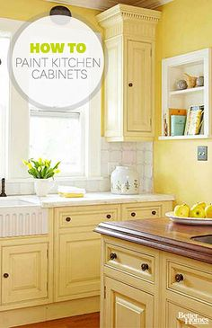 Better homes and gardens - how to paint kitchen cabinets kitchen cabinet colors, kitchen colors Yellow Kitchen Cabinets, Old Cabinets, Kitchen Cabinet Colors, Painting Kitchen Cabinets, Kitchen Paint, Kitchen Redo, Kitchen Colors, Kitchen Dining, Kitchen Ideas