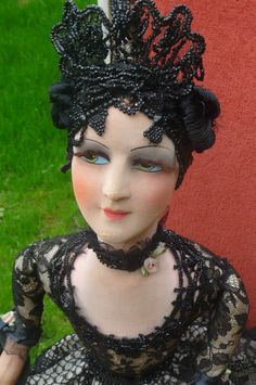 Antique French Boudoir Doll Paris 1920 Silk Fashion Doll