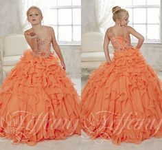 2016 Gorgeous Glitz Peach Girls Pageant Dresses Long Ball Gown Crystals Ruffles Sheer V Neck Corset Sweep Train Girl Pageant Dresses
