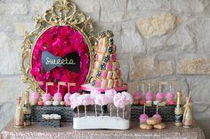 Kate Spade inspired Bridesmaids' Brunch: gold, glitter, sequins, black & white, hot pink and girly to the nines!