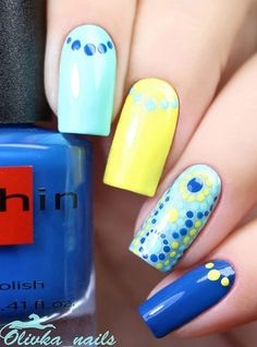 Blue and Yellow Nail Art Design for Long Nails. Incorporating all the summer colors, this nail art is perfect for your summer season.