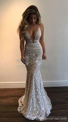 Gorgeous V-Neck Spaghetti Straps Prom Dresses,Lace Evening Dresses,Long Prom Dresses Long Prom Dresses Uk, Stunning Prom Dresses, Sparkly Prom Dresses, Straps Prom Dresses, Lace Evening Dresses, Prom Party Dresses, Elegant Dresses, Sexy Dresses, Formal Dresses
