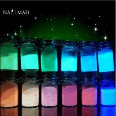 12 Colors Luminous Nail Polish Powder Glow in the Dark Glow Powder