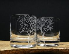 Two Wine Glasses, 8 in height, 11.5 oz. Italian, Lead-Free Crystal Glass Hand engraved Branches & Leaves  ►If you would like the glasses Custom Engraved with your Personalized wedding date and names, initials, or short phrase, be sure to choose Yes Personalization before making payment in the options. Follow directions below. ►2 names and date, 1 name, initials, or short phrase can be engraved into each glass or base. Specify bowl of the glass or base. ►Please see attached images. Choose ...