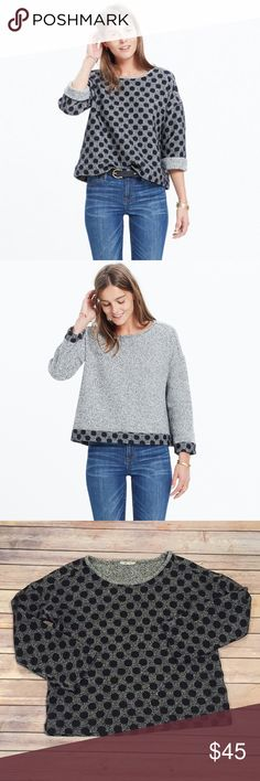 Madewell Reversible Marled Dot Top Pullover Excellent condition- beautiful sturdy pullover. Looks expensive but is incredibly comfortable too! Can be worn either way Madewell Tops